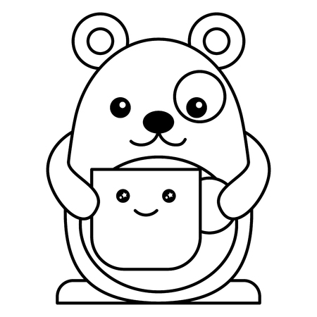 A cute hamster with cup character vector illustration design