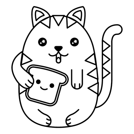 A cute cat with bread toast slice character vector illustration design