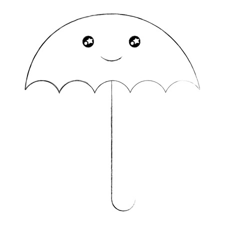 umbrella open with smile  character vector illustration design