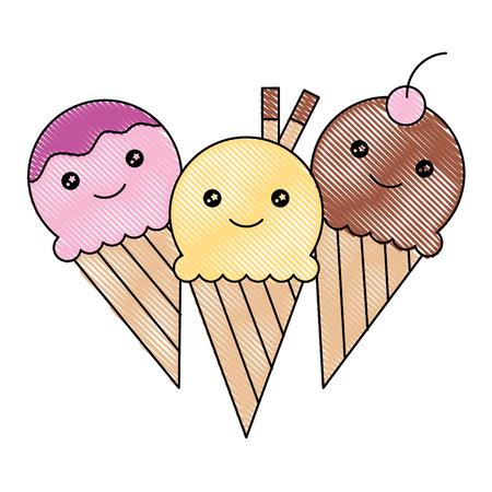 Three ice cream kawaii cartoon vector illustration