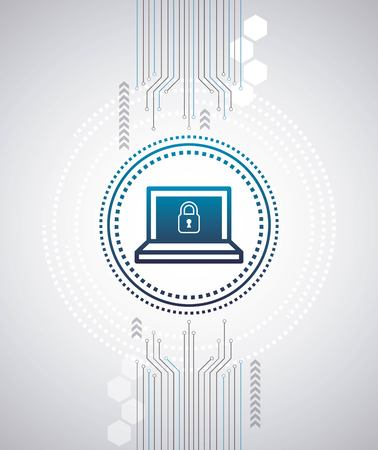 cyber security digital connection circuit high speed computer locked padlock vector illustration Çizim