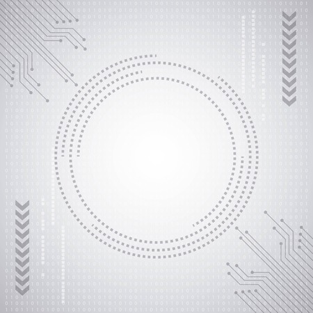 cyber security digital white binary circuit background connection vector illustration Banco de Imagens - 100502610