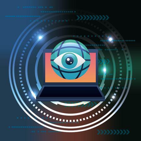 cyber security technology circuit degrade background surveillance vector illustration Illustration