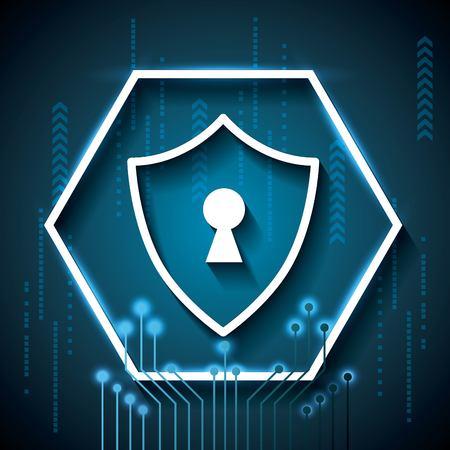cyber security technology digital binary circuit background rhombus padlock safety vector illustration