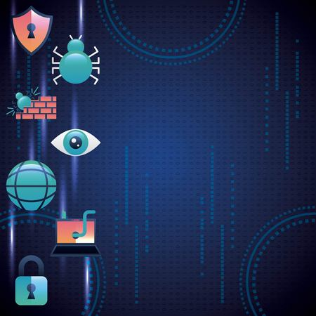 cyber security technology blue circuit background binary numbers colorful firewall worm crime vector illustration Illustration