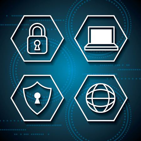cyber security technology rhombus computer safety padlock shield protection vector illustration