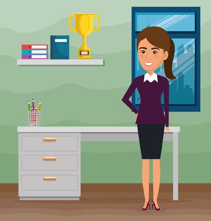 elegant businesswoman in the office scene vector illustration design Stock Illustratie