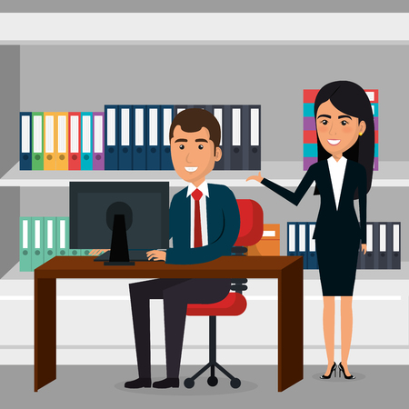 Elegant business people in the office scene vector illustration design