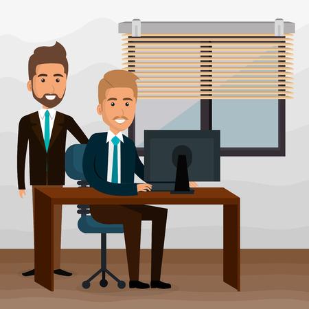 Elegant businessmen in the office scene vector illustration design Illustration