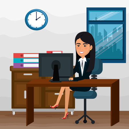 elegant businesswoman in the office scene vector illustration design Archivio Fotografico - 100505073