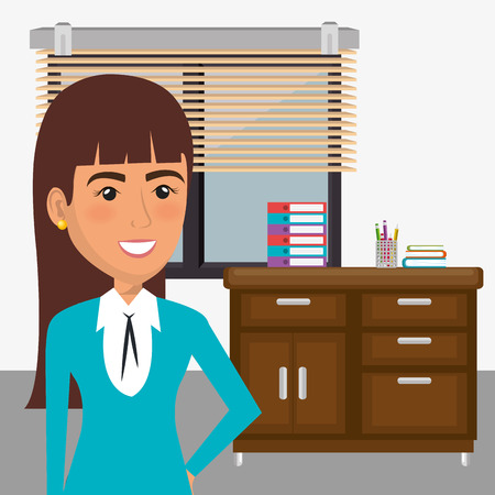 elegant businesswoman in the office scene vector illustration design Ilustração