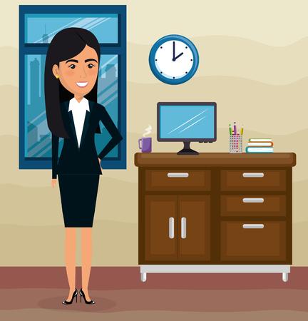 elegant businesswoman in the office scene vector illustration design Archivio Fotografico - 100505115