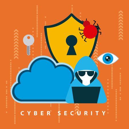 Cyber-Sicherheitstechnologie Orange Circuit Hintergrund Hacker Computer Cloud Alarm Virus Spinne Schlüsselloch Vektor-Illustration Vektorgrafik