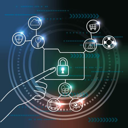 cyber security technology binary circuit hand touching locked folder connection surveillance vector illustration