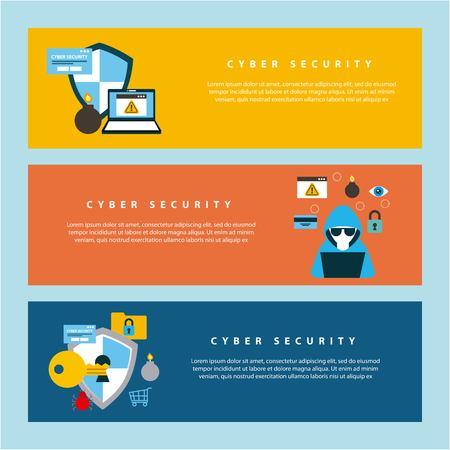 cyber sécurité technologie bannières colorées hacker ordinateur bouclier protection trou de serrure enregistrer illustration vectorielle