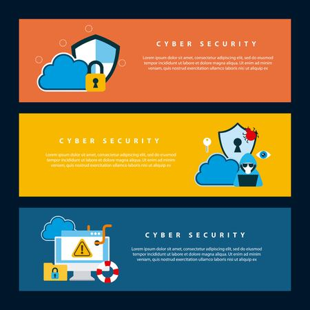 cyber security technology banners protection information cloud shield keyhole worm virus vector illustration Illustration