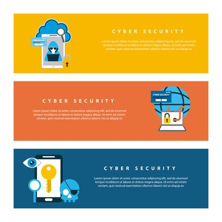 cyber security technology colorful banners hacker computer world alert warning keyhole surveillance vector illustration