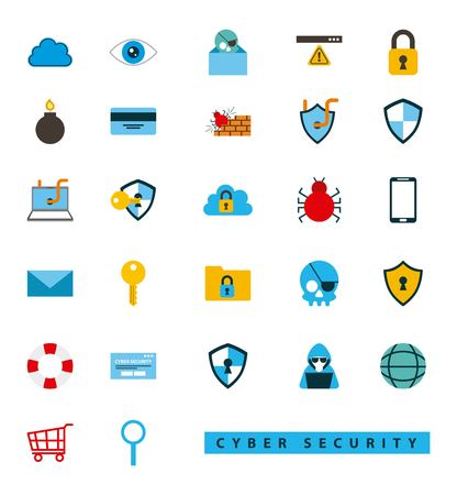 cyber security technology stickers about surveillance hield keyhole virus spider message alert vector illustration 向量圖像