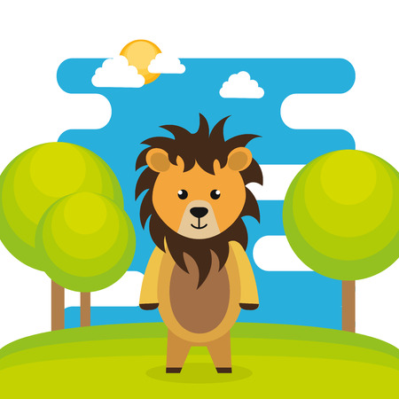cute lion in the field landscape character vector illustration design Vectores