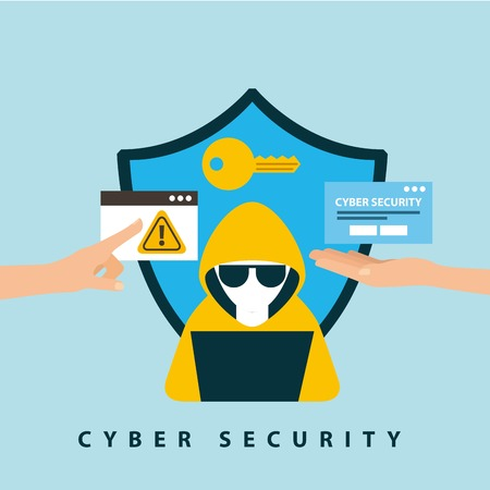 cyber security technology shield protection keyhole hacker computer danger warning vector illustration