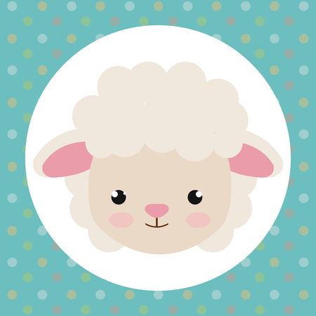 cute sheep head tender character vector illustration design