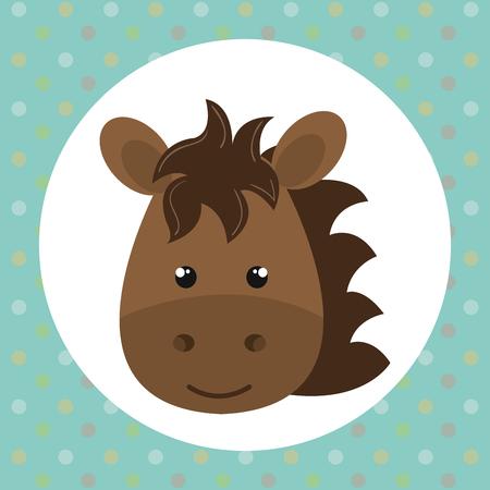 cute horse head tender character vector illustration design