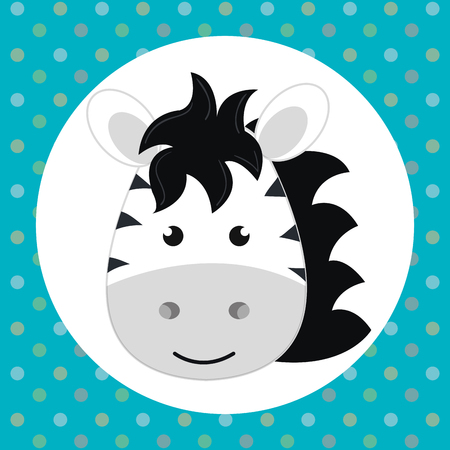 cute zebra head tender character vector illustration design