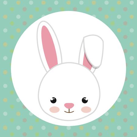cute rabbit head tender character vector illustration design