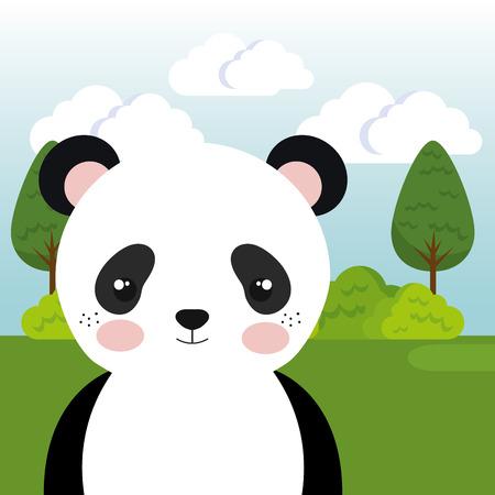 cute panda bear in the field landscape character vector illustration design Foto de archivo - 100508118