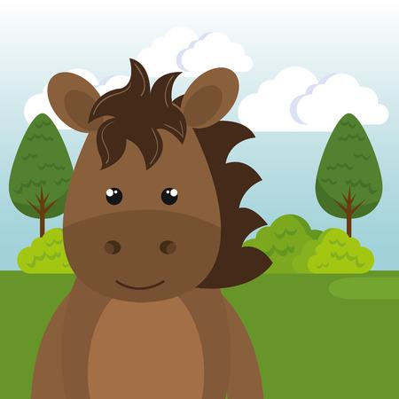 cute horse in the field landscape character vector illustration design Foto de archivo - 100508120