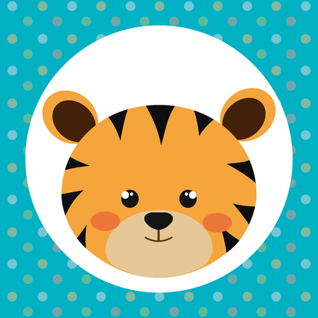 cute tiger head tender character vector illustration design Çizim