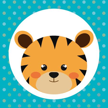 cute tiger head tender character vector illustration design Illustration