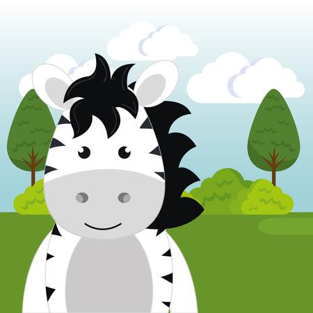 cute zebra in the field landscape character vector illustration design Foto de archivo - 100508121