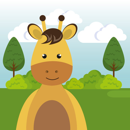 cute giraffe in the field landscape character vector illustration design Foto de archivo - 100508122
