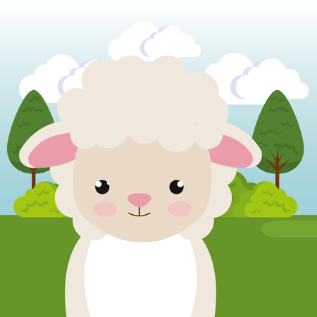 cute sheep in the field landscape character vector illustration design