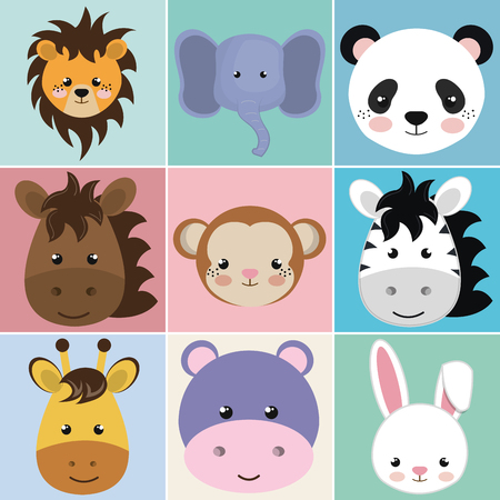 cute group head animals characters vector illustration design