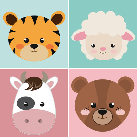 mignon, groupe, tête, animaux, caractères, vecteur, illustration, conception
