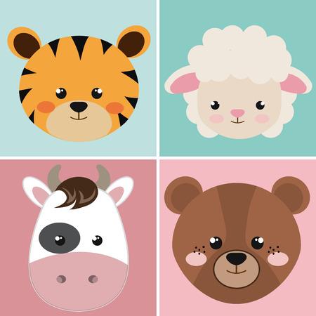 Simpatico gruppo testa animali caratteri illustrazione vettoriale design