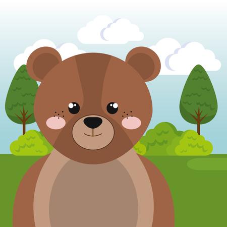 cute bear in the field landscape character vector illustration design Foto de archivo - 100508197
