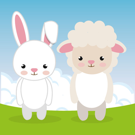 cute rabbit and sheep in the field landscape characters vector illustration design