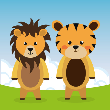 cute tiger and lion in the field characters vector illustration design