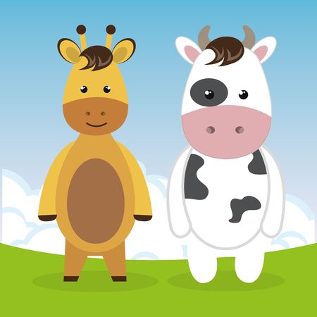 cute giraffe and cow in the field landscape characters vector illustration design