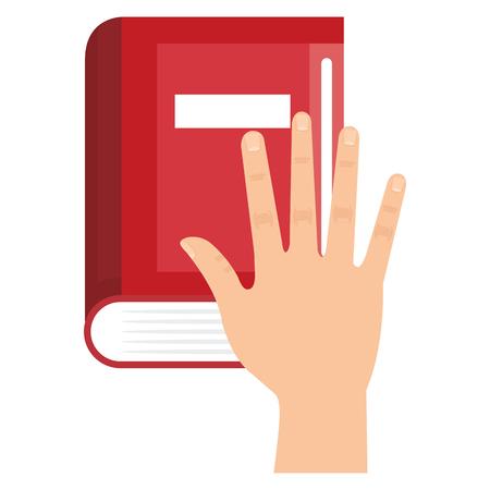 hand met boek school vector illustratie ontwerp