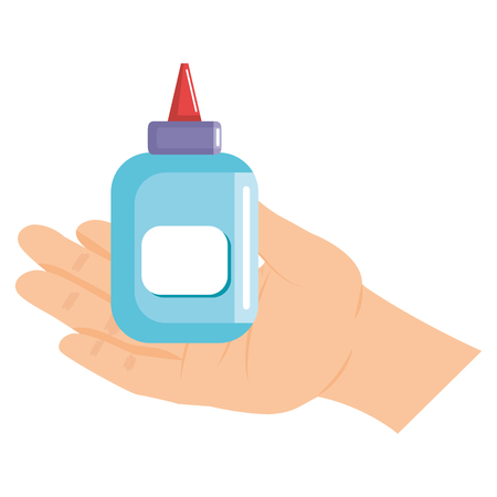 hand with glue bottle isolated icon vector illustration design Standard-Bild - 100509300