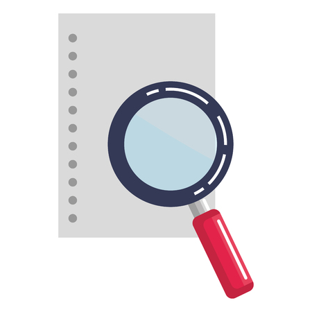 magnifying glass with paper vector illustration design