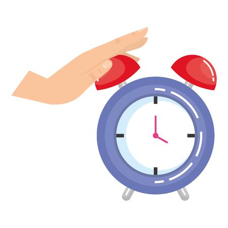 hand with alarm clock time icon vector illustration design Illusztráció
