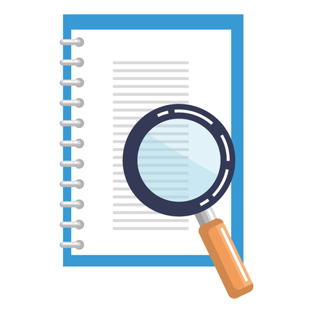 notebook with magnifying glass isolated icon vector illustration design