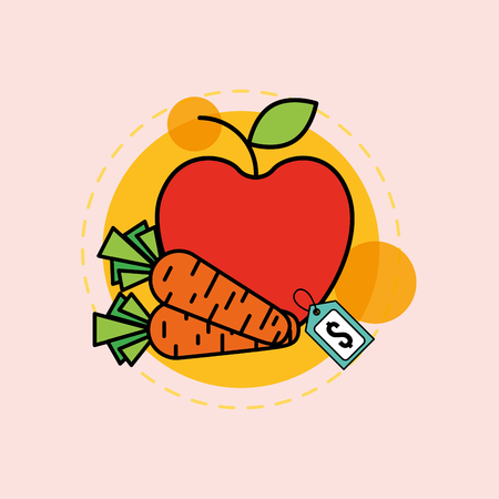 apple carrots fruit and vegetable supermarket price vector illustration