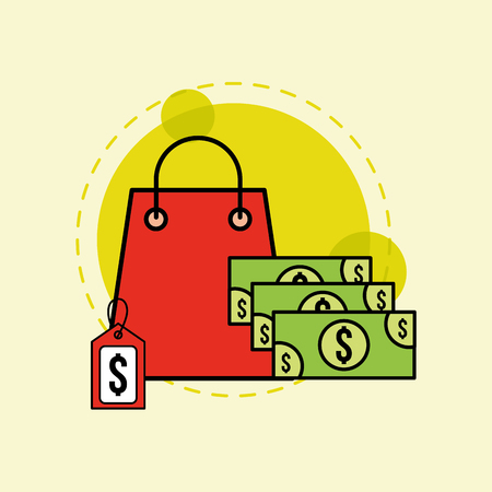 shopping paper bag tag price and banknotes money vector illustration Stock Vector - 100638732