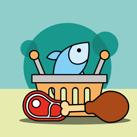shopping basket fish chicken and meat vector illustration Stock Vector - 100638729